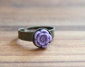 SALE Purple Grape Cherry Blossom on Antiqued Brass Ring 10mm - Adjustable - 1pc