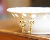 SALE Vintage Style Key Dangle Earrings