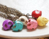 1pc Candy Skull Stone Bead Necklace on Antiqued Brass Chain - Yellow Turquoise Purple White Pink Red