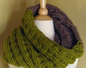 The Colossal Cowl - Chartreuse & Taupe/Chunky Knit Cowl/Infinity Scarf
