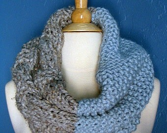 The Colossal Cowl - Blue Grey/Chunky Oversized Knit Cowl