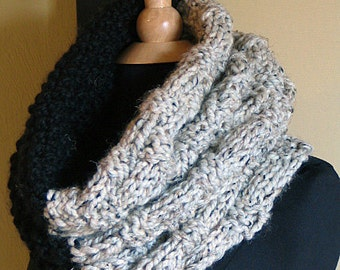 The Colossal Cowl Two Tone  BLACK and Grey Marble