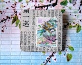 Japanese Postage Stamp & Newspaper Wooden Brooch - Pastel Birds - Large