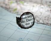 "Jane Austen Ring - ""Mr. Darcy"" Pride and Prejudice - Vintage Paperback Book - Mixed Media - UK British"