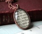 Jane Austen Necklace / Pendant - Mr. Darcy - Antiqued Copper Setting - Small