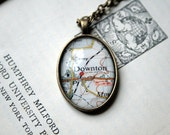 British Map Necklace / Pendant - Vintage English Map of Downton - fab for Downton Abbey fans