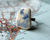 Beach Pottery Ring - Blue and White China - Delftware / Sea Glass style ceramic ring - large