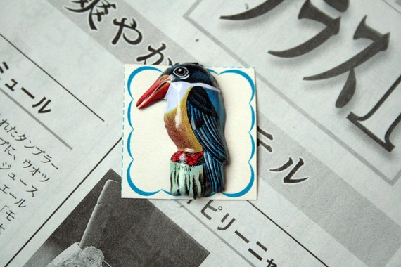 Vintage 1950s Japanese Tin Bird Brooch - Blue Kingfisher