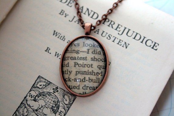 Book Necklace / Pendant - Agatha Christie's Poirot - Antiqued Copper Setting - Small