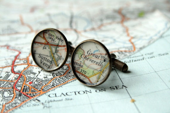 Map Cuff Links - Vintage UK Map - Decoupage / Mixed Media - Great Men's Valentine's Gift