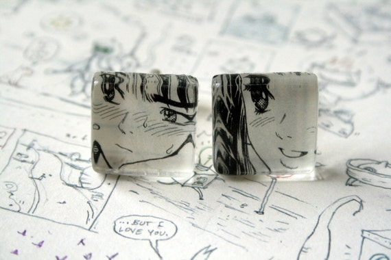 Manga Cuff Links, Men's Cufflinks, Recycled Japanese Comic Book On Glass Tile, Ideal Valentine's Day Gift.