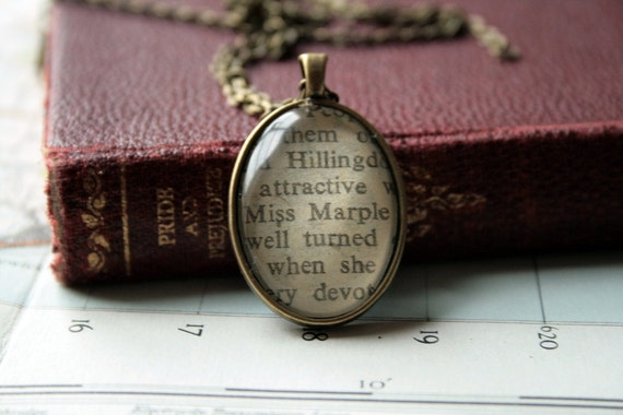 Book Necklace / Pendant - Agatha Christie's Miss Marple - Antiqued Bronze Setting - Small