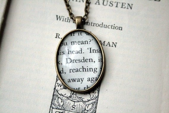 Book Necklace / Pendant - Harry Dresden of Jim Butcher's Dresden Files - Antiqued Bronze Setting - Small
