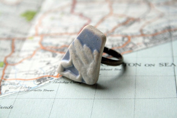Beach Pottery Ring - Blue and White China - wedgewood / Sea Glass style ceramic ring - small