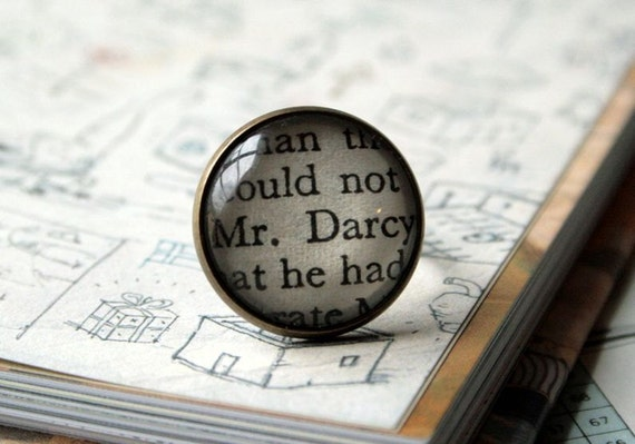 Book Ring, Mr Darcy, Fab Gift for a Jane Austen or Pride and Prejudice Fan. Vintage Paperback Book in Simple Bronze Setting