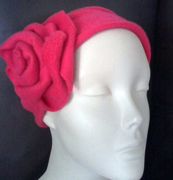 Fleece earwarmers headband with rose