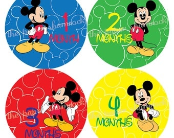 Mickey Mouse Monthly Onesies Stickers, Baby Stickers for Onesies, Month Stickers