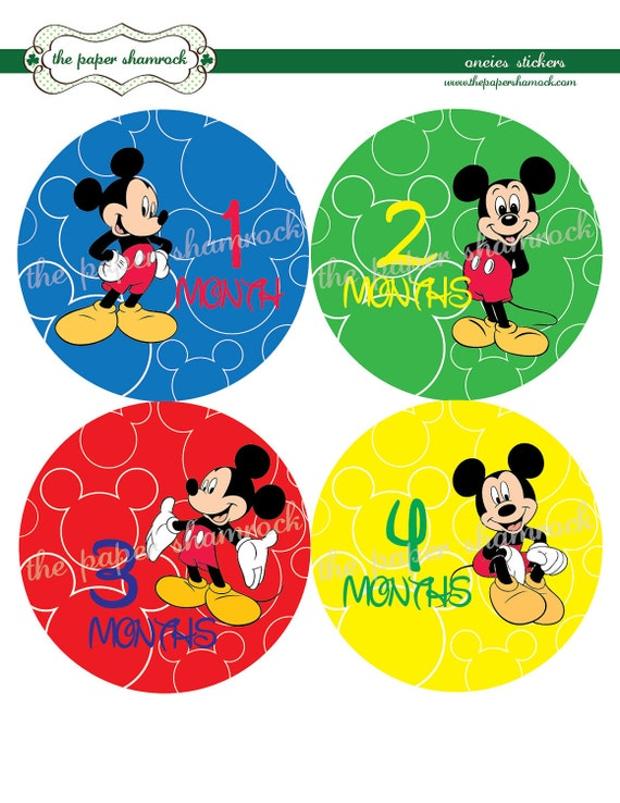 mickey mouse monthly onesies stickers baby stickers for. Black Bedroom Furniture Sets. Home Design Ideas