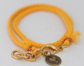 Braided friendship bracelet/ anklet with heart charm- amber yellow // fall in love