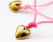 LOVE wish friendship bracelet with 14K matt gold heart on waxed silk cord // all you need is love