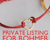 Private listing for Rohmer // Four WISH bracelet with 24K tiny gold heart on waxed cord // let's fall in love