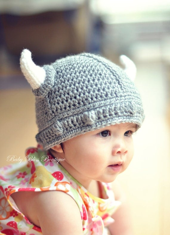 The Viking Hat 12M to 24M Gray Color Viking Hat with White