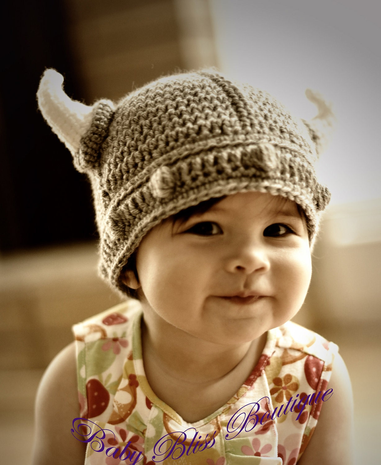Free Crochet Patterns For Viking Hat : The Viking Hat 6M to12M Size Gray Color Viking Hat with