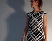 Jersey Print Dress off-shoulder