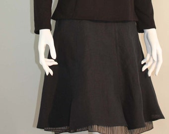 Six Gore Skirt Black Linen with Stripe Partly Exposed Lining Top Stitched with Invisible Side Zipper and Slits at Princess Lines