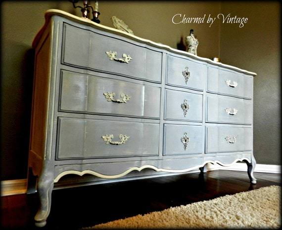 French Provincial Shabby Glam Blue Dresser (Reserved for Heidi)