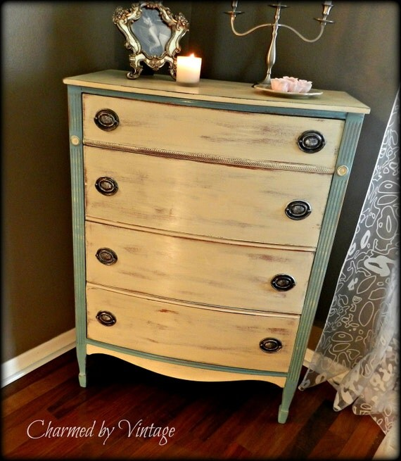 Blue and White Shabby French Vintage Chest of Drawers (RESERVED for DEVIN)
