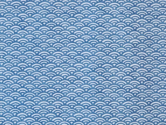 "Japanese Chiyogami Paper - Design ""Blue Waves"""