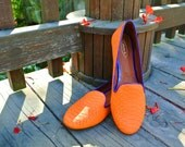 Bright Orange x Purple Snake Leather Slip-on Loafers/ Flats/ Sneakers/ Neon Shoes (US 8.5 & 9  in stock)