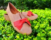 Bright Coral x Nude Beige Leather Slip-on Flats/ Shoes with Coral Bow/ Neon Shoes (Made To Order)