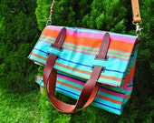 HEIKI. C SALE Last One--- Handmade 2-Way Neon Aqua Blue Orange Striped Canvas Shopper Messenger with Detachable Cross-Body Leather Strap