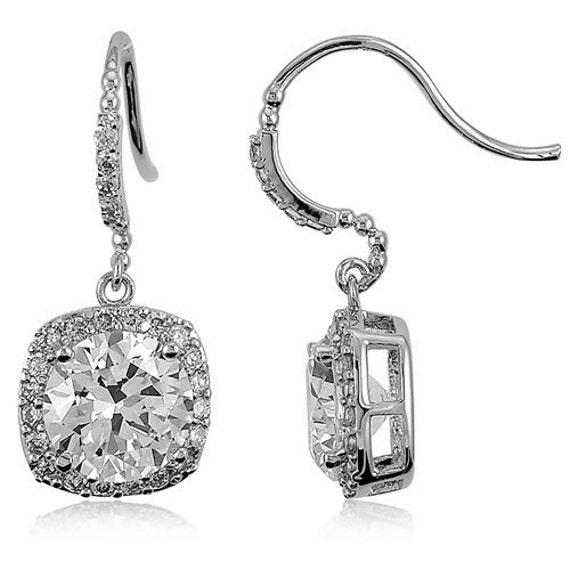 Sterling silver cushion cut earrings - Eternity