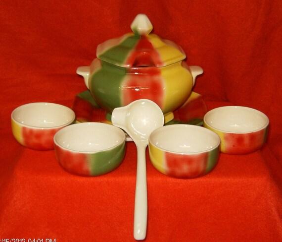 Handcrafted Octagon Serving Bowl Set-8 pc-Ceramic