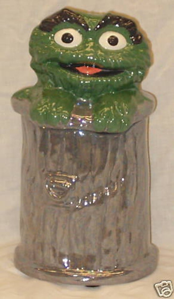 """Oscar Grouch Cookie Jar-Ceramic-11""""T-Handcrafted"""