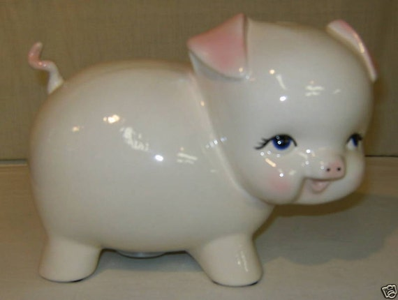 """Piggy Bank Curly Tail- Ceramic-9""""L-Must See- Signed-NEW"""