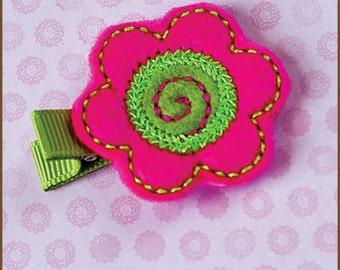Pink Green Flower Hair Clip Felt - Fuchsia/Lime Flower - Felt Flower Clippie - Baby Hair Clip