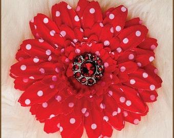 Red Daisy Hair Clip - Red Polka Dot Flower Clip - Red Clippie - Valentines Hair Clip