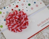 Shabby Chic Headband, Peppermint Frayed Rosette, Skinny Elastic Headband, Red and White Striped, Baby Headband, Christmas Headband - SaraOlsenDesigns