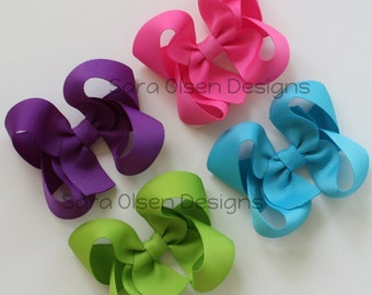 Twisted Hairbows, Set of 4, Butterfly Bows, 3 Inch, Basic Hairbows, Classic Hairbows, Hair Accessories, Pink Purple Turquoise Green
