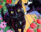 """11x14 print - """"Heartland Cats""""  Black cats await their new forever homes."""