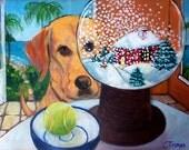 "11x14 Print - ""Snow Globe"" in Tropics Yellow Dog Art"