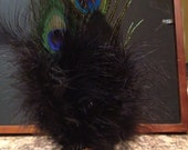 Handmade Peacock and Black Feather Mini Top Hat with Victorian Cameo