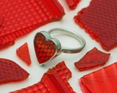 Heart Shaped Ring - Red Heart Ring - Love Heart Ring - Red Heart Ring - Hand Made - Made to Order - FREE SHIPPING