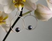 Silver Hoop Earrings - Black Pearl Earrings - Small Hoop Earrings - Pearl Dangle Drop Earrings - Sterling Silver - Free Shipping