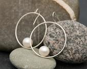 Pearl Earrings - White Pearl Earrings - Hoop Earrings - Pearl Dangle Earrings - Sterling Silver Hoops - FREE SHIPPING