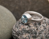 Blue Topaz Ring - Blue Topaz Engagement Ring - Blue Topaz Ring - Blue Gemstone Solitaire Ring  - Made to Order - FREE SHIPPING